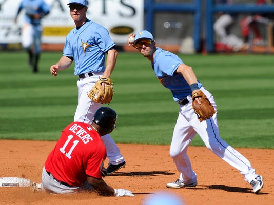 Tampa Bay Rays' Matt Duffy (5) prepares to throw the ball to first as Boston Red Sox's Rafael Devers (11) slides into second base while Bay Rays second baseman Joey Wendle watches during the sixth inning of a spring training baseball game Tuesday, March 6, 2018, in Port Charlotte, Fla. Blake Swihart was out at first. (Chris Urso/The Tampa Bay Times via AP)