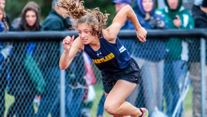 Michelle Moraitis of Hartland broke the Livingston County record in the 400 meters in the state Division 1 track and field meet at East Kentwood on June 3, 2017.