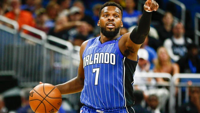 Mar 20, 2018; Orlando, FL, USA;Orlando Magic guard Shelvin Mack (7) calls out the play  during the second half against the Toronto Raptors at Amway Center. Mandatory Credit: Reinhold Matay-USA TODAY Sports