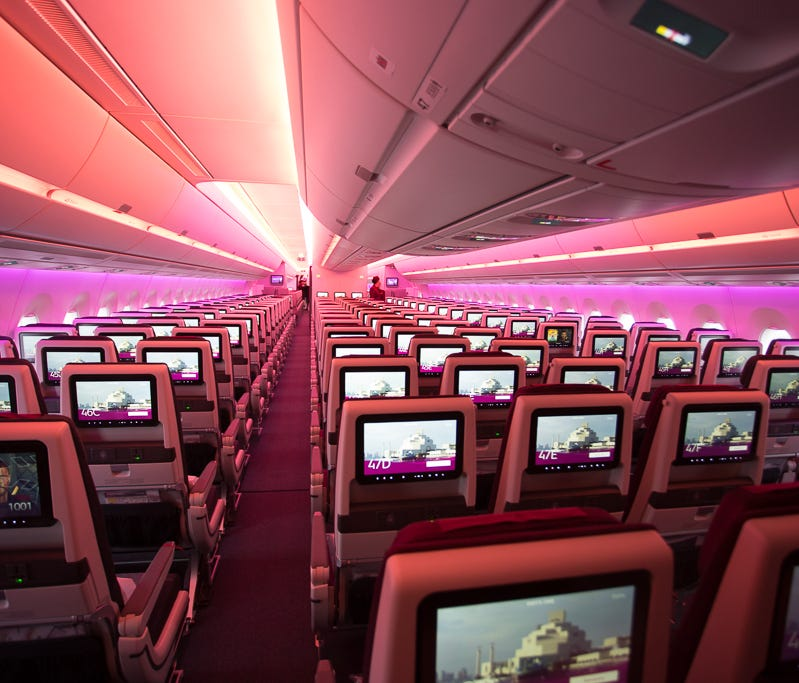 Qatar Airways' economy class cabin, seen aboard the world's first Airbus A350-1000 at a delivery ceremony in Toulouse, France, on Feb. 20, 2018.