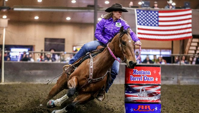 """Tia Murphy and her horse, """"Reno,"""" entered the week leading the Montana Pro Rodeo Circuit standing in barrel racing."""