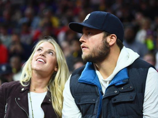 Lions quarterback Matthew Stafford with wife Kelly