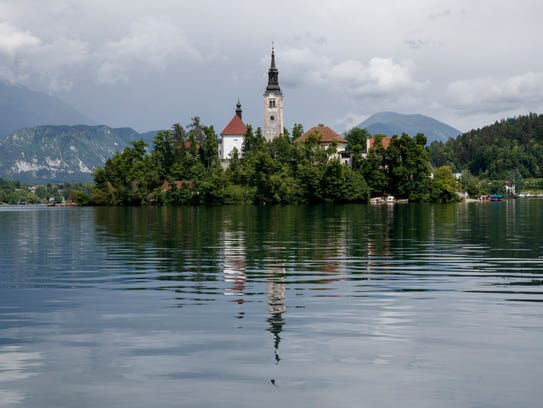 A view of the Church of the Assumption on Bled Island