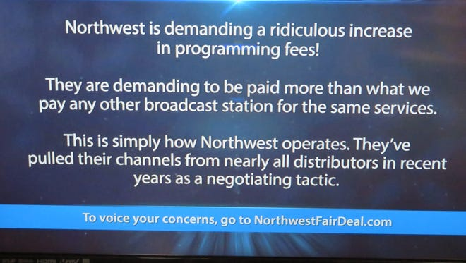 An image from the Spectrum message that has been running in a continuous loop in place of the WICZ broadcast in the Binghamton cable lineup as the two bicker over re-transmission fees.