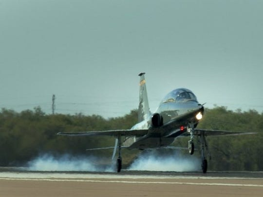 In this file photo, a T-38 Talon takes off. Vance Air Force Base in Oklahoma reports two airmen were killed while conducting a training mission.