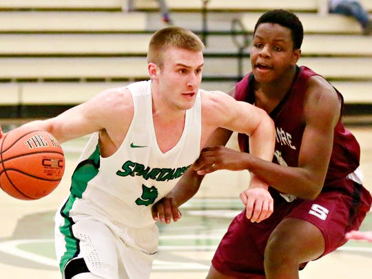 Central York High School graduate Jared Wagner is averaging 11.6 points and 4.6 rebounds per game this season for York College. He also leads the Spartans in assists (4.0 per game) and steals (2.2 per game). YORK DISPATCH FILE PHOTO