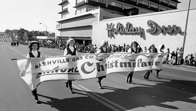 The Nashville Gas Company and Nashville Chamber of Commerce is presenting the Silver Anniversary of Nashville Christmas parade as it comes up West End Ave. Dec. 5, 1976.