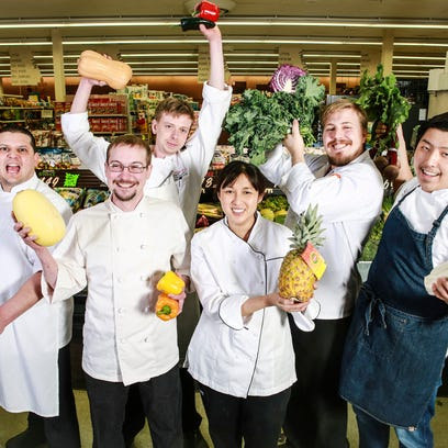 Chefs Oscar Maldonado, from left, Mark Ford, Michael Dunbar, Robbi Santos, Zac Young and Ming Pu have been invited to cook at the James Beard House in New York.