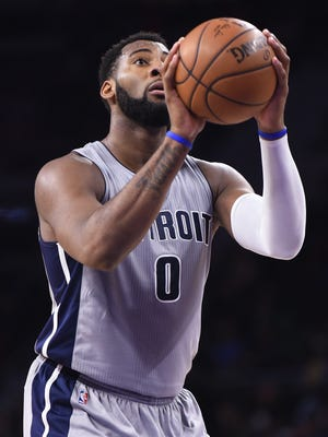 Andre Drummond shoots a free throw during a game against the Hawks in March.