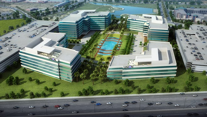Plans call for Lincoln Property Co. and Harvard Investments to build four large office buildings at Dobson Road and Rio Salado Parkway, next to the Loop 202.