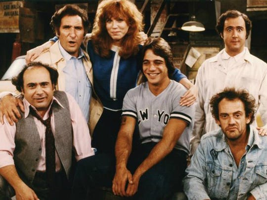 The cast of the TV series 'Taxi.' From left: Danny DeVito, Judd Hirsch, Marilu Henner, Tony Danza, Andy Kaufman and Christopher Lloyd.