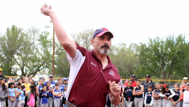 Deming Mayor Benny Jasso threw out the ceremonial first pitch to open the 2017 Deming Little League season on Tuesday, April 4, at E.J. Hooten Park on South Granite Street. The ceremony included the introduction of boys and girls baseball and softball teams and a full evening of action on the diamonds of Susanne Morales Memorial Field and Eddie Holguin Memorial Field. The league accommodates players from age 9 to 16.