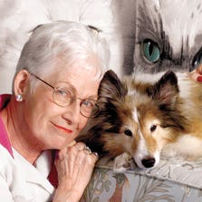 "Marge Wright in a file photograph, with Sheltie Max. Wright was involved with the Arizona Humane Society for more than 30 years, and was a local celebrity as host of ""Pets on Parade."""