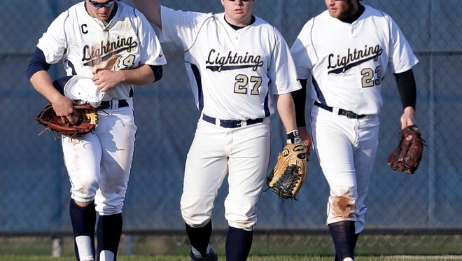 Appleton North High School's Connor Rolain (left), Keegan Kreul (center) and Dan Rothbauer were all voted to the All-FVA baseball team this season.