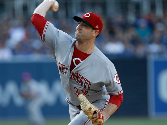Cincinnati Reds starting pitcher Matt Harvey throws to the plate against the San Diego Padres during the first inning of a baseball game in San Diego, Saturday, June 2, 2018. (AP Photo/Alex Gallardo)