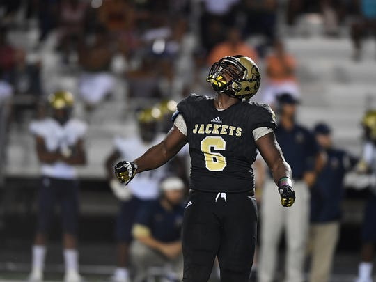 Hanna's Zacch Pickens (6) reacts after sacking Spartanburg quarterback Jax Cash (8) on Friday, August 25, 2017.
