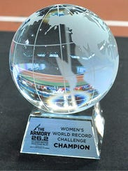 Lindsey Scherf's first-place trophy for winning the