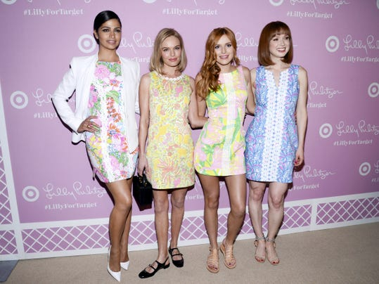 Model Camila Alves, from left, and actresses Kate Bosworth, Bella Thorne and Ellie Kemper attend the Lilly Pulitzer for Target launch event at the Bryant Park Grill Wednesday in New York. The exclusive line sold out online within hours and at some stores in a shorter time than that.
