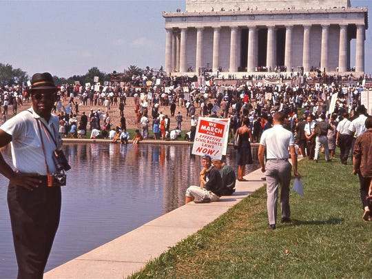Crowd gathering at the Lincoln Memorial for the March on Washington in 'I Am Not Your Negro,' a Magnolia Pictures release.