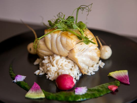 Muse's grouper with baby radishes, watercress puree,