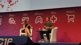 Journalist Jessi Hempel interviews Facebook CEO Mark Zuckerberg