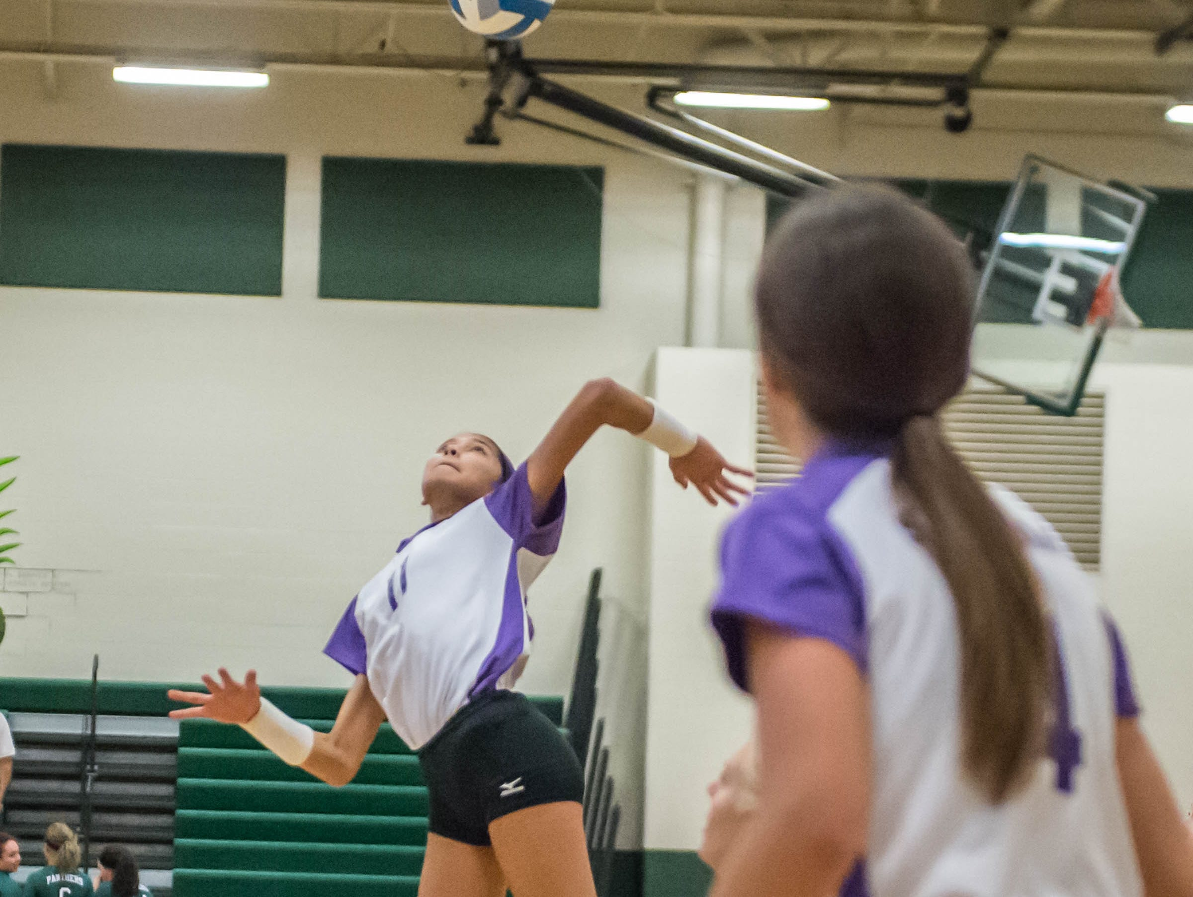 Lakeview's Emma Morey (7) goes for the kill shot at the All-city volleyball tourney on Saturday.