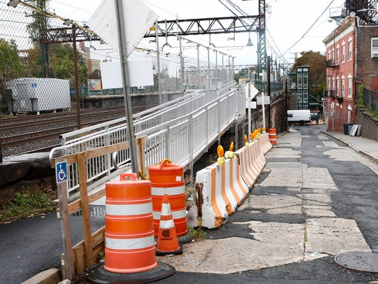 A handicap accessible ramp along East Broadway for