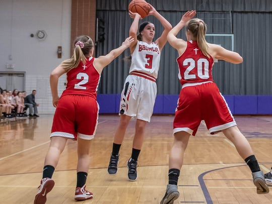 Bellevue's Gabby Costello (3) takes her shot during