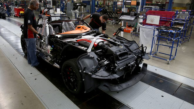 A 2015 Dodge Viper is worked on the line on Friday, May 8, 2015 at the 400,000 square foot Conner Avenue Assembly Plant in Detroit, Michigan where the Dodge Viper is hand built.
