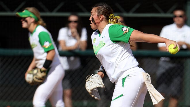 Oregon pitcher Cheridan Hawkins throws against Washington at Howe Field, on Sunday, March 29, 2015, in Eugene. Oregon won the game 15-6 in 5 innings.