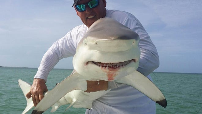 Chris Sommer holds up a nice shark that he caught this week using live jacks for bail.