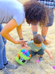 A pretty good Easte egg haul for this littl tyke at Ruidoso's 2018 Easter egg hunt staged by the parks and recreation department staff and volunteers.