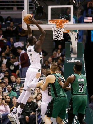 Thon Maker goes up for a dunk against the Celtics Saturday night.