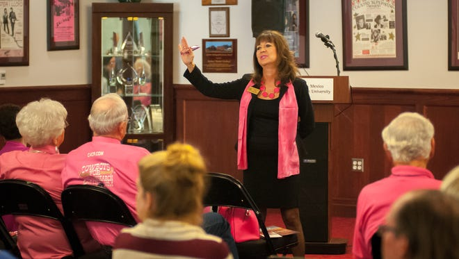 "New Mexico Secretary of Higher Education Barbara Damon gives a talk entitled ""Cancer's Effect on Mental Health"" at the Pan American Center's Barbara Hubbard Room as part of the Tough Enough to Wear Pink series of events."