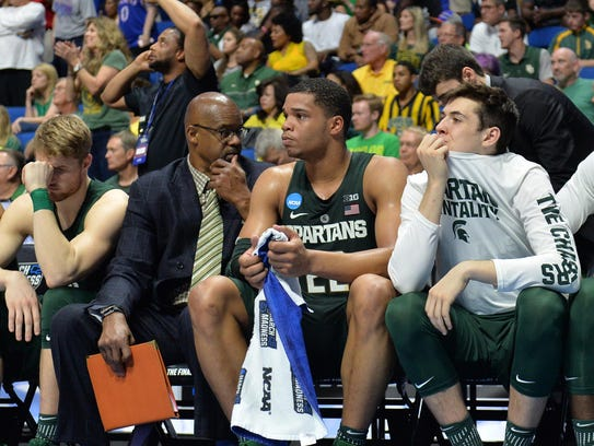 Michigan State forward Miles Bridges (22) reacts on