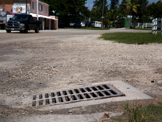 A storm drain on Goodland Drive, across from Stan's