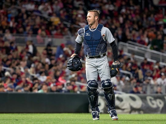 Tigers catcher Andrew Romine (17) reacts the seventh