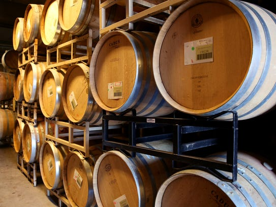 Wine barrels are seen at Willamette Valley Vineyards outside Turner.