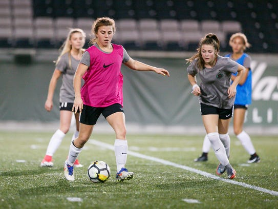 Blanchet's Emily Collier at a Thorns Academy soccer practice on Tuesday, Oct. 24, 2017, at Providence Park in Portland, Ore. Collier plays for the Thorns U19 team.