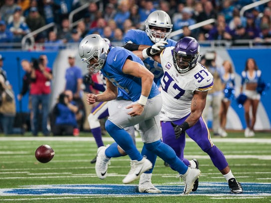 Lions' Matthew Stafford and Vikings' Everson Griffen
