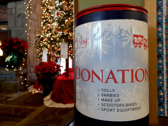 A donation bin for the Toy and Joy toy drive in partnership
