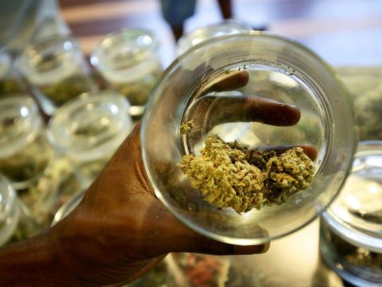 A medical-marijuana sample is displayed at 420 Dank