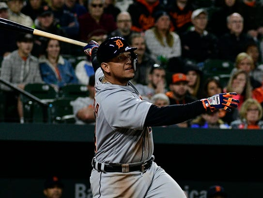 Miguel Cabrera hits a three-run home run during the second inning against the Orioles at Camden Yards on April 28.