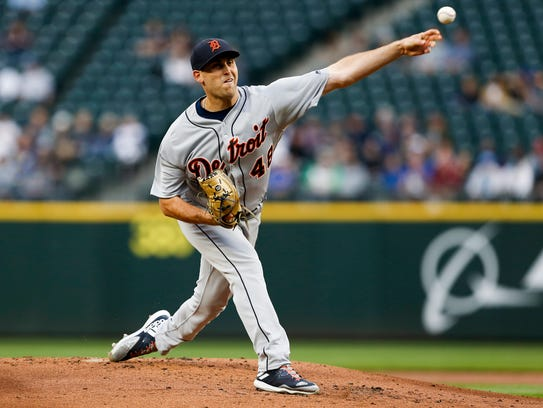 Matthew Boyd throws against the Mariners during the first inning at Safeco Field on Thursday.