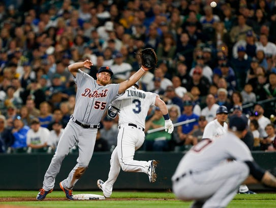 May 19, 2018; Seattle, WA, USA; Detroit Tigers first