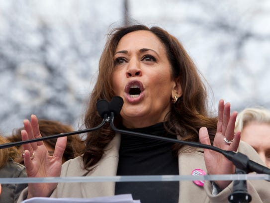 Sen. Kamala Harris, D-Calif., speaks during the Women's