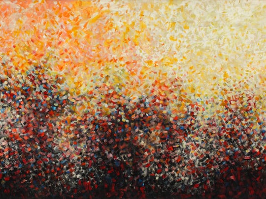 This untitled Norman Lewis work, called 'Barker and Crowd aka Torch) was created  circa 1960. It is an oil on canvas work.