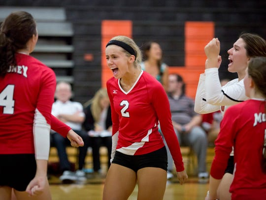 Cardinal Mooney junior Lilly Wolf celebrates as they