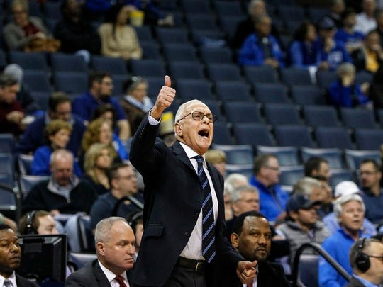 February 25, 2016 - Legendary Southern Methodist University coach Larry Brown calls a play in front of 8,319 fans, who turned out to see the Tigers fall to SMU 69-62.