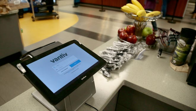 Vantiv's Carbon point-of-sale register device is set up in the company's cafeteria in Symmes Township.